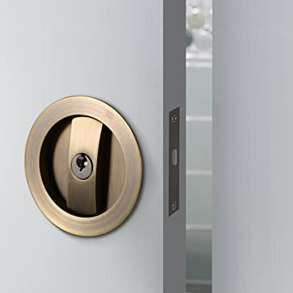 CCJH Invisible Barn Wood Sliding Door Gate Cup Handle Lock Hardware With  Keys (Bronze (