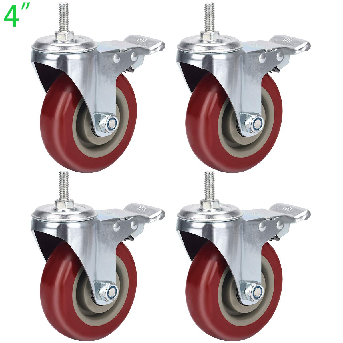 DICASAL Heavy Duty Stem Casters 360 Degree Swivel Durable Wheels Castors with Imperial Size 3//8-16x1 Threads Dual Safety Locks and Bearings Easy to Install for Furniture and DIY Tools