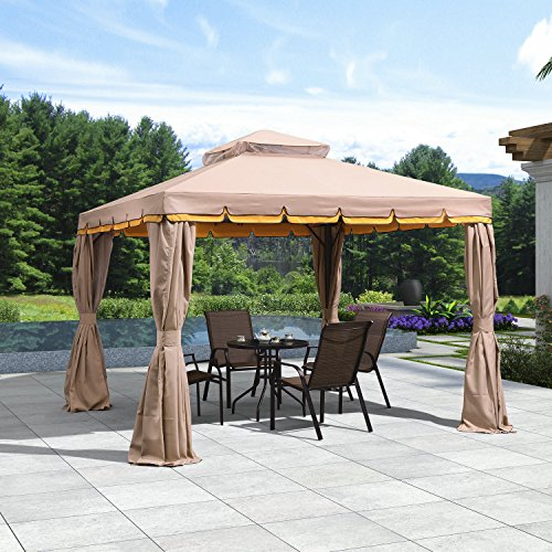 PURPLE LEAF 10′ × 10′ Outdoor Gazebo Garden Canopy Steel Frame Vented Soft Canopy, D ...