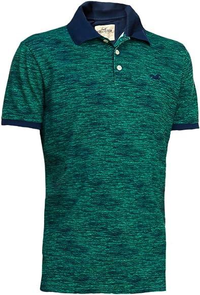 Hollister hombre con textura Slim Fit Pique Polo Shirt Tee Verde ...