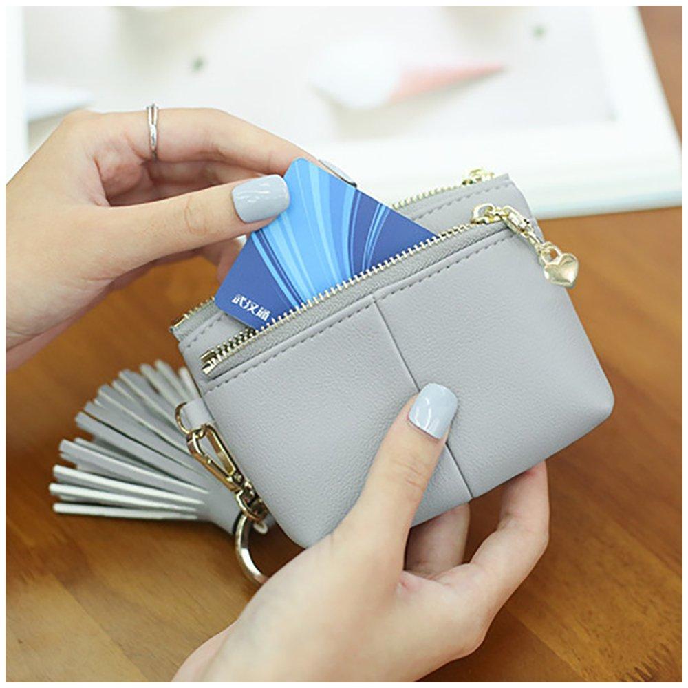 Womens RFID Blocking Slim Key Holder Wallet Card Holder Coin Cash Key Organizer with Ring Tassel (#2 Pink) by IFUNLE (Image #4)