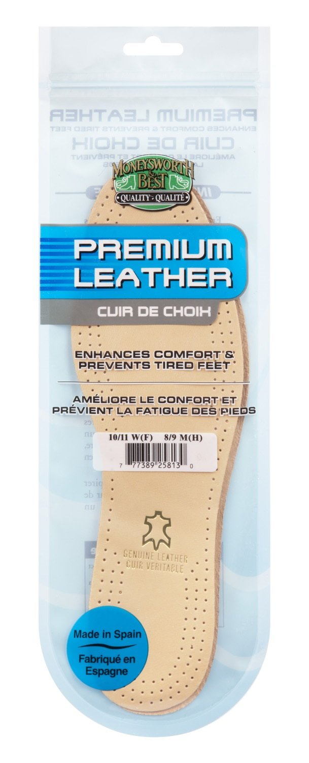 Moneysworth & Best Shoe Care Leather Insole, Tan, Men's Size 10-11