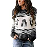 Umeko Womens Ugly Christmas Sweater Cute Reindeer Tree Knit Casual Loose Pullover Jumper