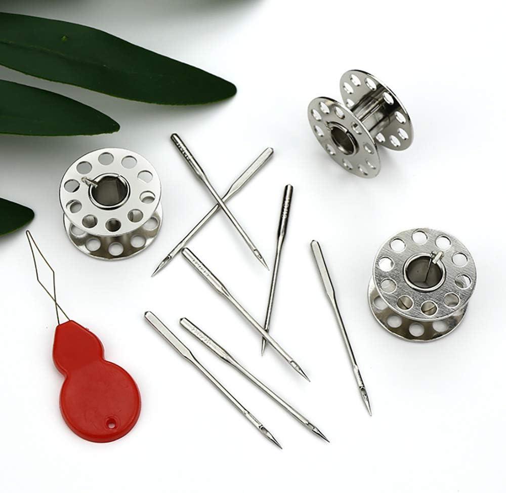 SUNJULY 50 piezas de agujas para máquinas de coser domésticas tamaño 9, 11, 14, 16, 18 con 5 piezas de botellas de agujas Ligeras portátiles, para el hogar, máquinas de coser, sastres, interiores