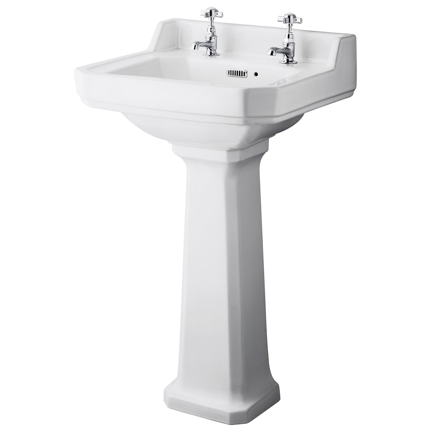Old London CCR019 Richmond 500mm Basin & Pedestal (2 Tap Hole), White, 560mm