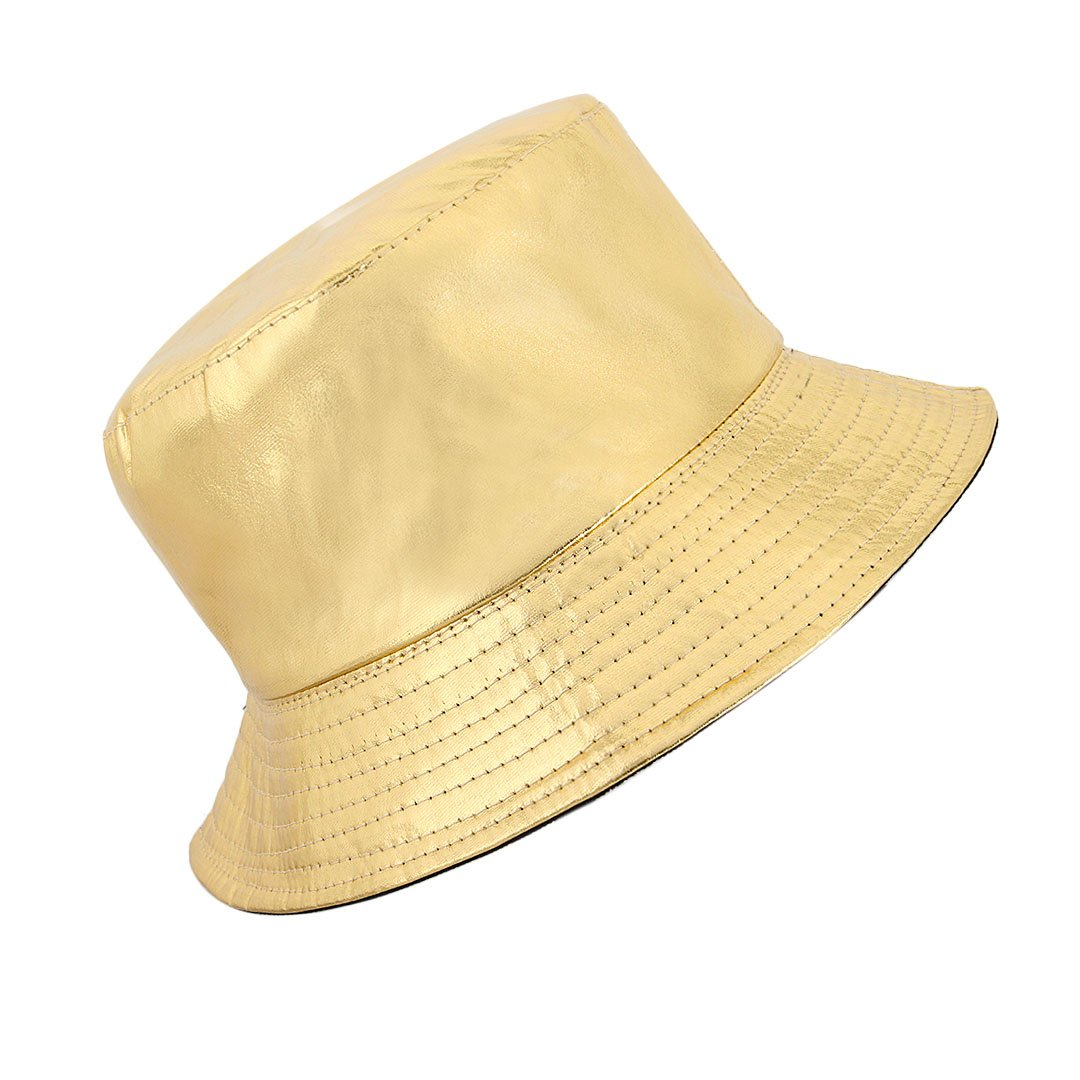 Surkat Unisex Metallic Foldable Bucket Hat Reversible Fisherman Cap Travel Sun Hat(Gold)