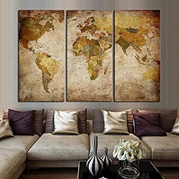 Amazon newartprint hd printed oil paintings home wall decor newartprint hd printed oil paintings home wall decor art on canvas classic world map 3pcs gumiabroncs Choice Image