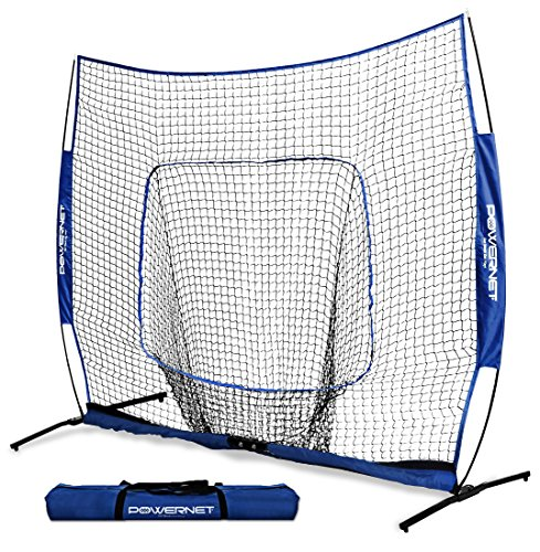 PowerNet 8x8 XLP PRO Net with One Piece Frame (Royal Blue) | Huge Baseball Softball Hitting Pitching Area | Great for Teams | Batting Fielding Portable Backstop | Non-Tip Weighted Base | 8 x 8 (64SqFt -