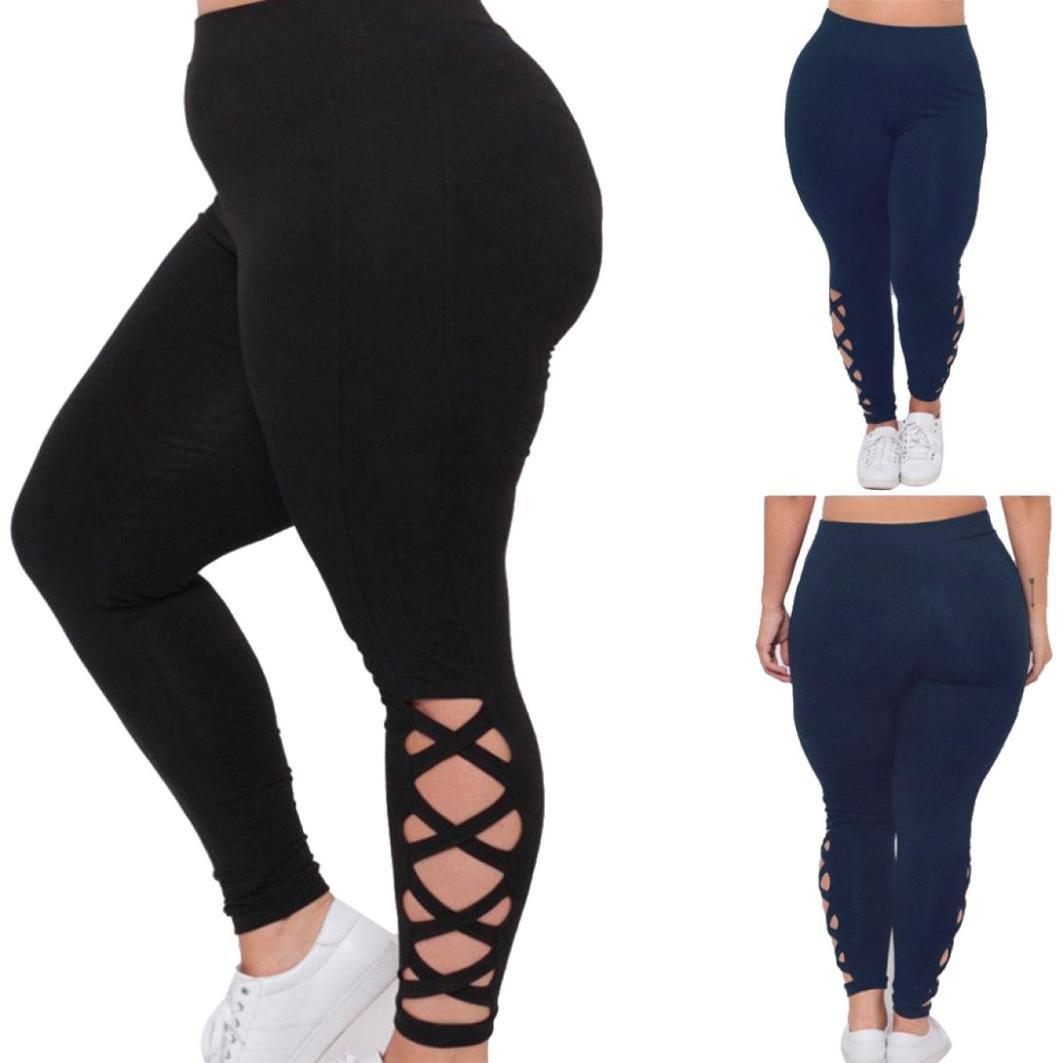 GoodLock Women Plus Size Elastic Leggings Solid Criss-Cross Hollow Out Sport Pants