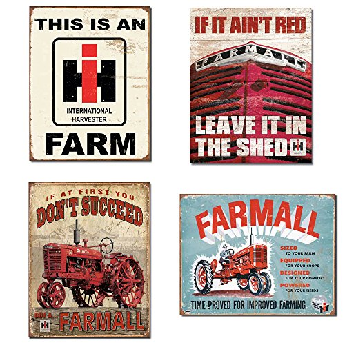 (Farm Signs Vintage Bundle - IH Farm, Farmall - If it Ain't Red, Farmall - Succeed, Farmall - Model A)