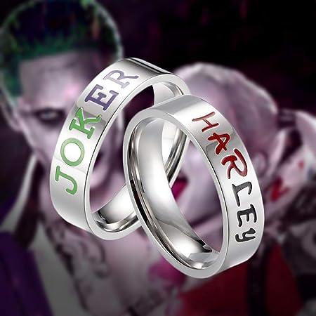 Fernando Guapo Harley Quinn y el Joker Suicide Squad Joyas Batman Amante Pareja Acero Inoxidable Anillos de Boda Regalo, B, 6: Amazon.es: Hogar