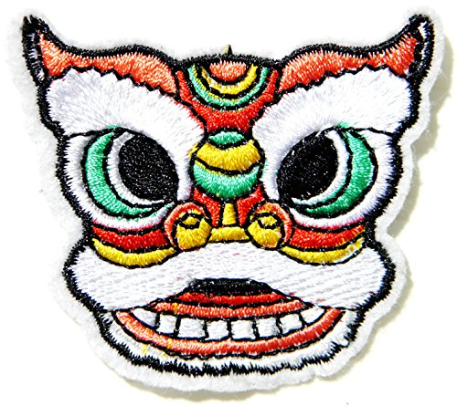 Head Chinese New Year Lion Dragon Marionette Puppet Patch Sew Iron on Embroidered Applique Women Kid Craft T-shirt Jean Jacket Hoodie Bag Cap Sweatshirt Handmade Decoration DIY Costume Gift Collection]()