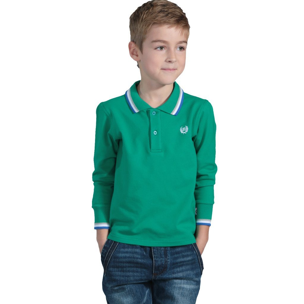 Leo&Lily Boys Long Sleeve Regular Fit Fine Pique Polo Shirts Green 5