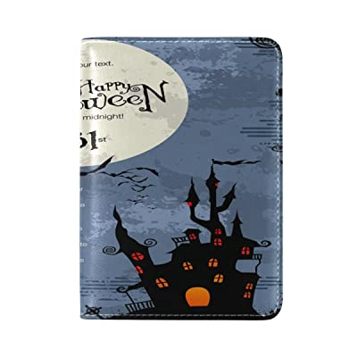 ALAZA Halloween Castle Moon Leather Passport Holder Cover Case Travel One Pocket