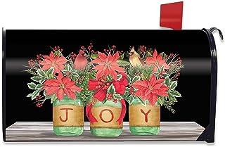 Briarwood Lane Joy Mason Jars Christmas Magnetic Mailbox Cover Poinsettias Standard