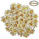 BETITETO U Shaped Flower Rhinestone Hair Pins Crystal Hair Accessories for Bridal Wedding/Party/Teen Sweet Sixteen (Yellow)