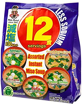 Miyasaka Instant Miso Soup Value Pack with Less Sodium, 6.39 Ounce