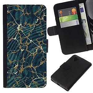 EJOY---La carpeta del tirón la caja de cuero de alta calidad de la PU Caso protector / LG Nexus 5 D820 D821 / --Modelo de la textura del extracto del oro azul