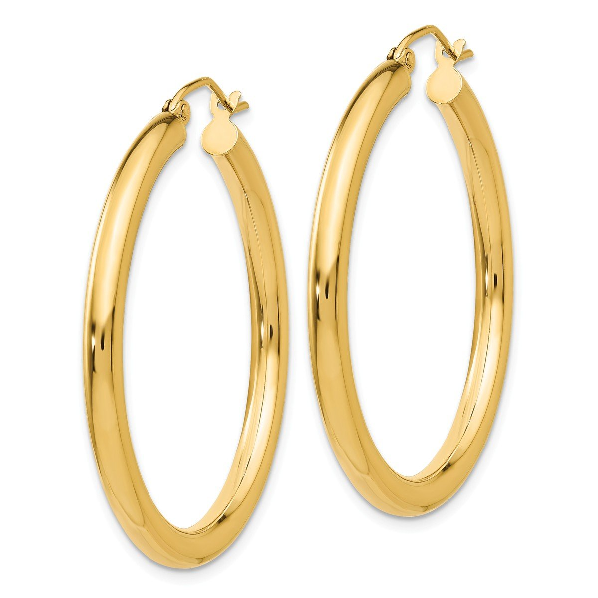 Designs by Nathan, Classic 14K Yellow Gold Tube Hoop Earrings: Seamless, Hollow, and Lightweight (Wide 3mm x 35mm (about 1 3/8''))