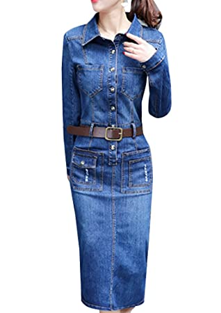 Vestido Vaquero Mujer Mangas Largas Vestido De Denim Vintage Vestido Vestido Largo Azul