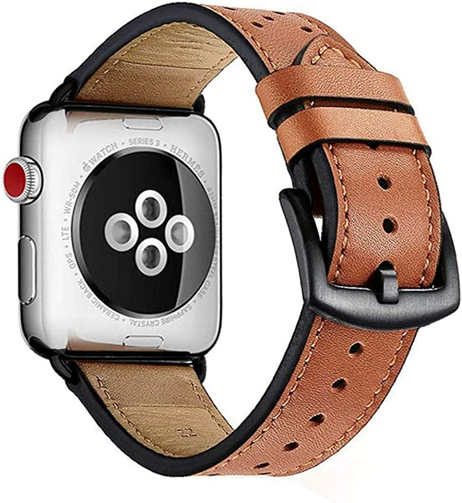 Compatible with Apple Watch Leather Bands 38mm 40mm 42mm 44mm Black/Brown Wristwatch Bands Series 5 4 3 2 1 Classic Steel Buckle Leather Replacement Straps