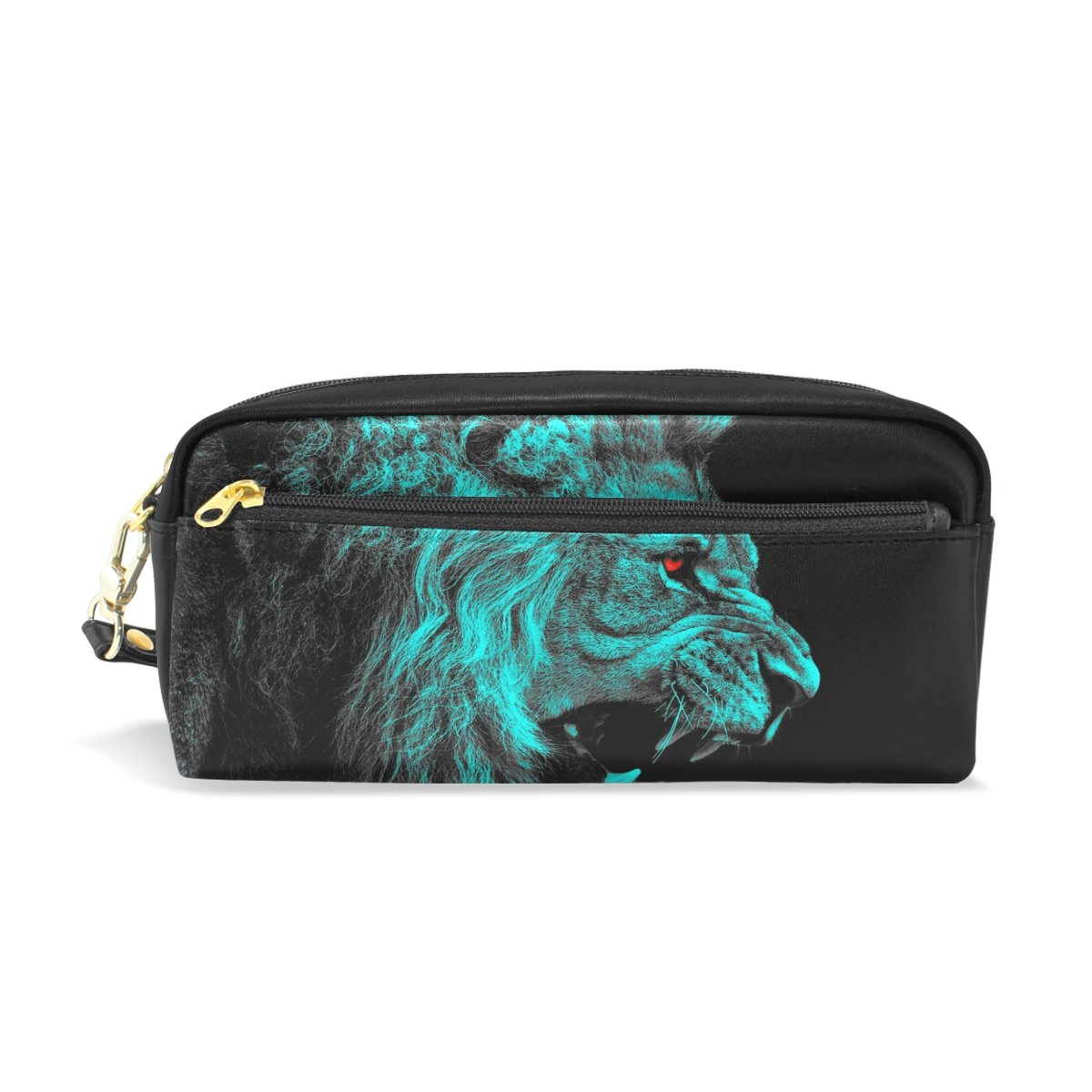 50414f038ff5 Blue Lion Leather Student Pencil Case Pen Cosmetic Bag for Girls ...