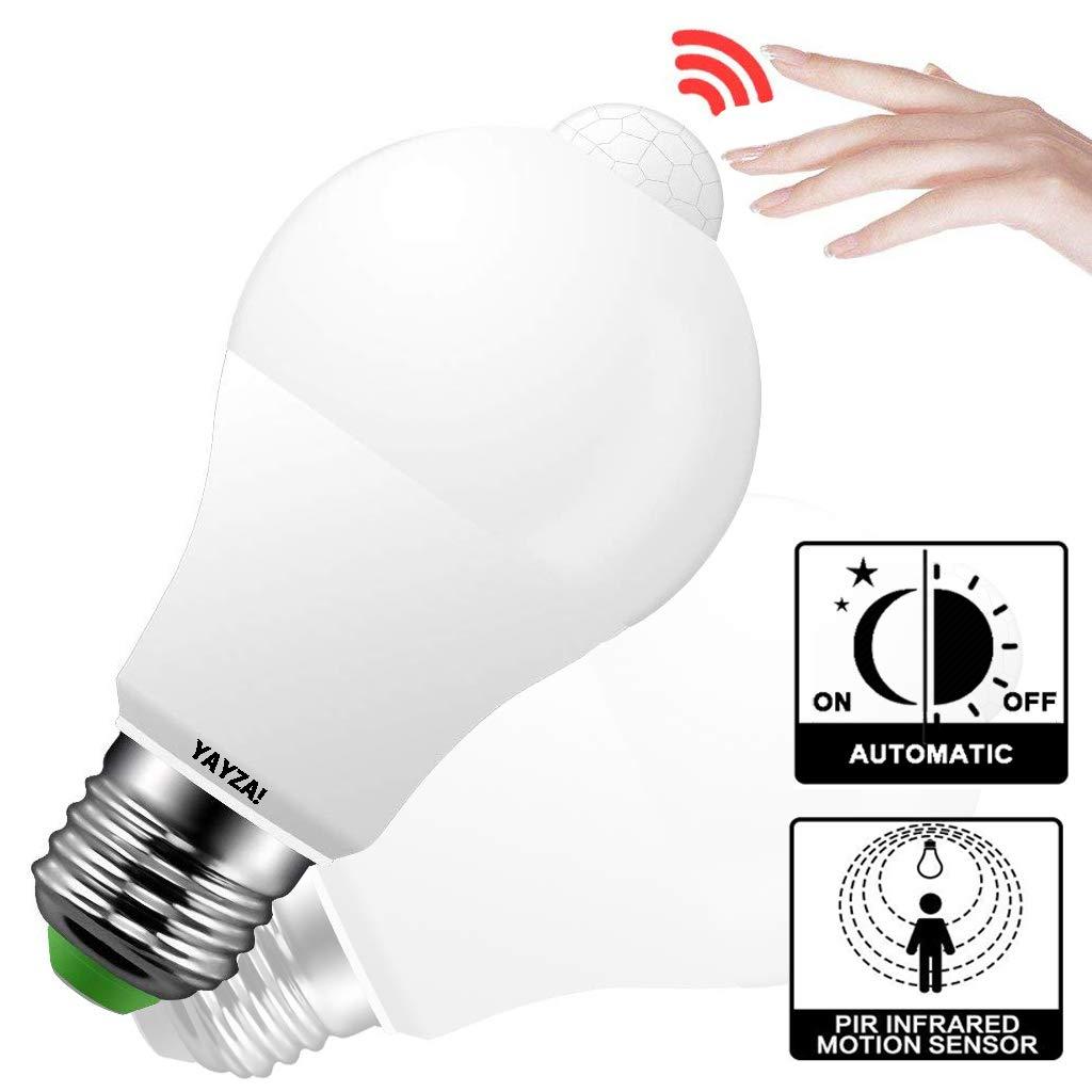 YAYZA 1-Pack Premium E27//E26 10W Edison Screw PIR Motion Sensor IP44 Security LED Light Bulb with Built-in Dusk Till Dawn Photocell Sensor 1000lm 100W Equivalent 3000K Warm White