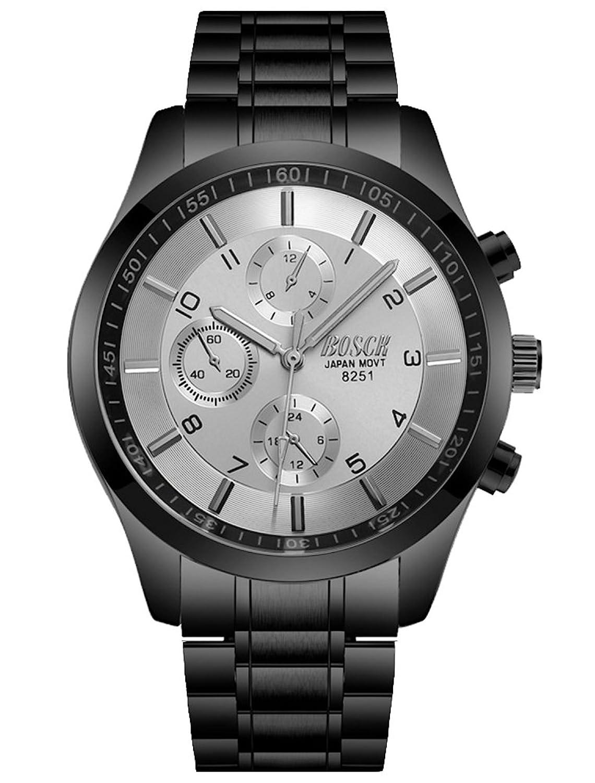 cheamlionメンズティーンボーイズクールブラックホワイトスチールバンドクォーツ腕時計  B0784JT8NG