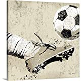 Peter Horjus Premium Thick-Wrap Canvas Wall Art Print entitled Vintage Soccer Strike 20''x20''