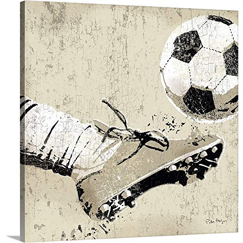 Peter Horjus Premium Thick-Wrap Canvas Wall Art Print entitled Vintage Soccer Strike 20''x20'' by Canvas on Demand