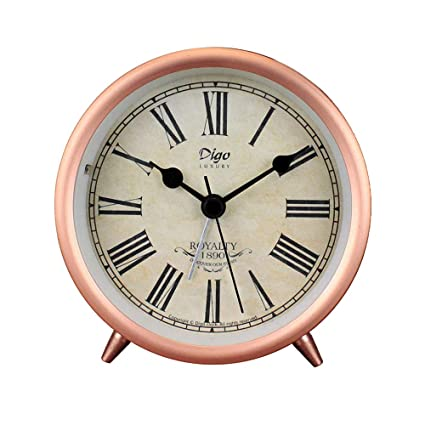 Justup Rose Gold Table Clock, 4in Retro Classic Non Ticking Tabletop Alarm  Clock Battery