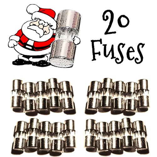 20 Christmas Mini Light Strings Replacement Glass Fuses 3A 3 Amp 110V 125V 20pcs (Bulb Fuse Christmas For Lights)