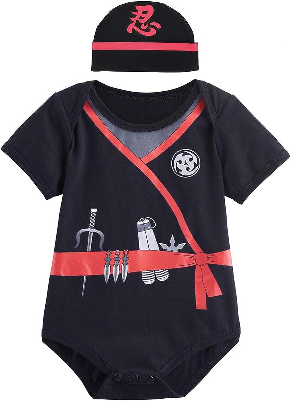 COSLAND Baby Boys' Ninja Short Sleeve Bodysuit with Hat