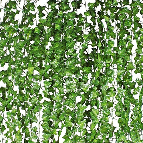 Ivy Garland,Fake Ivy Vine Foliage Silk Garland Hanging Greenery for Wedding Party Garden Wall Decoration 12 Pack 84FT ()