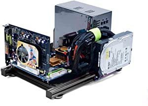 MATX Motherboard Test Bench Open Air Frame Computer Case Aluminum Bracket DIY Bare Frame Support Graphics Card Black