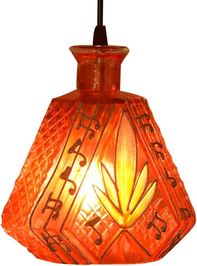 JUNYU Lámpara De Cristal del Vitral De La Vendimia Roja Personalidad Pintada Botella Decoración Lámparas Bar Restaurante