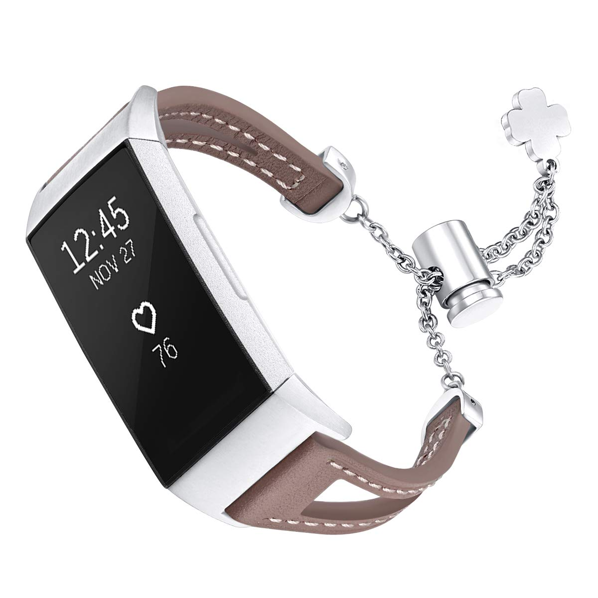 fastgo Leather Bracelet Compatible with Fitbit Charge 3/Charge3 SE Bands, Premium Stainless Steel Replacement Wristbands Classy Women Girls Adjustable (Tan) by fastgo