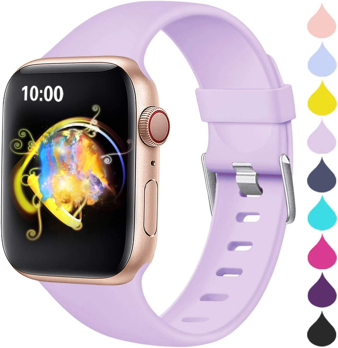Haveda Sport Compatible for Apple Watch SE Series 6 Series 5 4 44mm Band, Soft iWatch Bands 38mm Womens for Apple Watch Series 3 42mm Waterproof Replacement iWatch Series 2 1, Lavender 42mm/44mm S/M