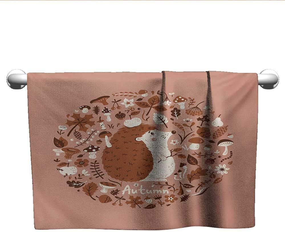Baby Bath Towel Hedgehog,Autumn Theme Animal Image with Many Season Elements Pine Cone Leaves Soft Colors,Coral Brown,Cooling Towel for Kids