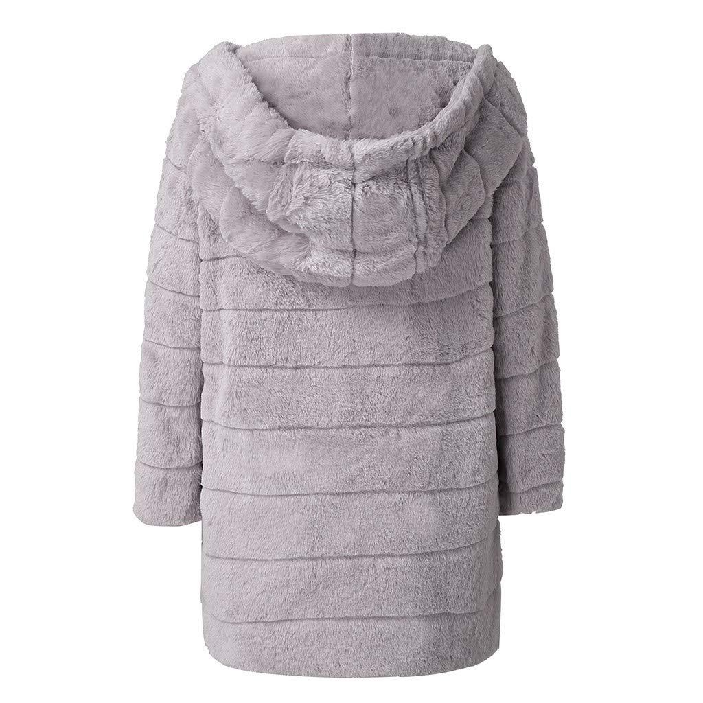 Damen Mantel Lang Winter Warmer Pl/üsch Fellimitat Mantel Solider Langer Jacken Kapuzenmantel