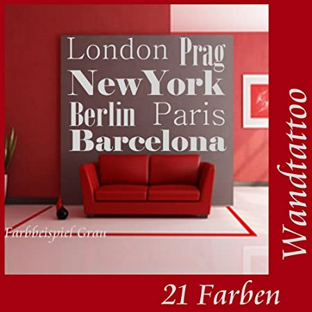 Tatuaje de pared nombres de ciudades Londres Berlín... Diseño de ...