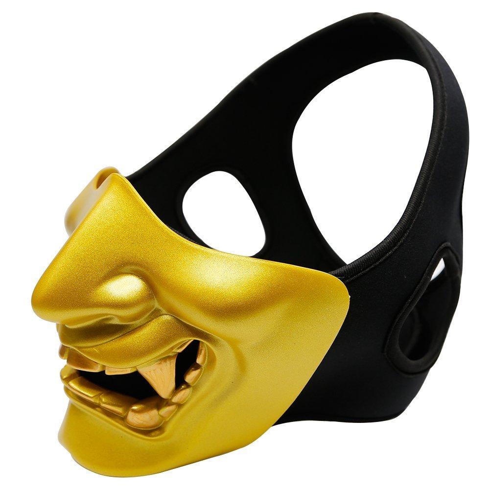 Atairsoft Máscara para disfraz de halloween, cosplay, BB, demonio, diablo, monstruo, kabuki, samurái, hannya, oni, máscara que cubre la mitad de la cara, ...