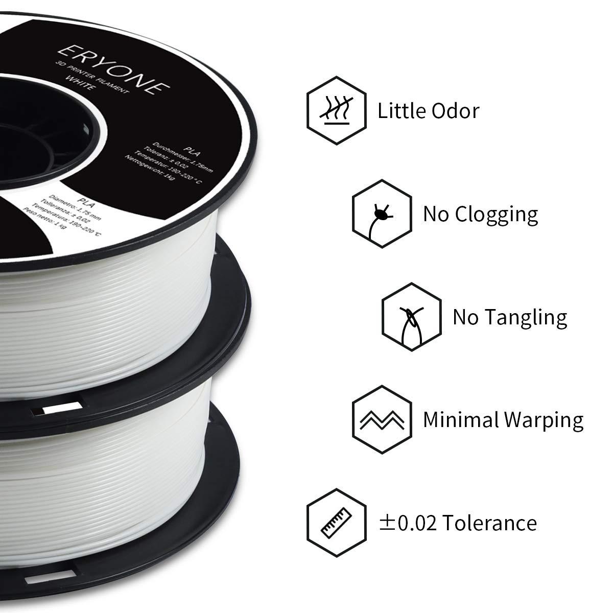 3D Printing Filament PLA for 3D printer PLA Filament 1.75mm White ERYONE Filament PLA 1.75mm 1kg 1 Spool