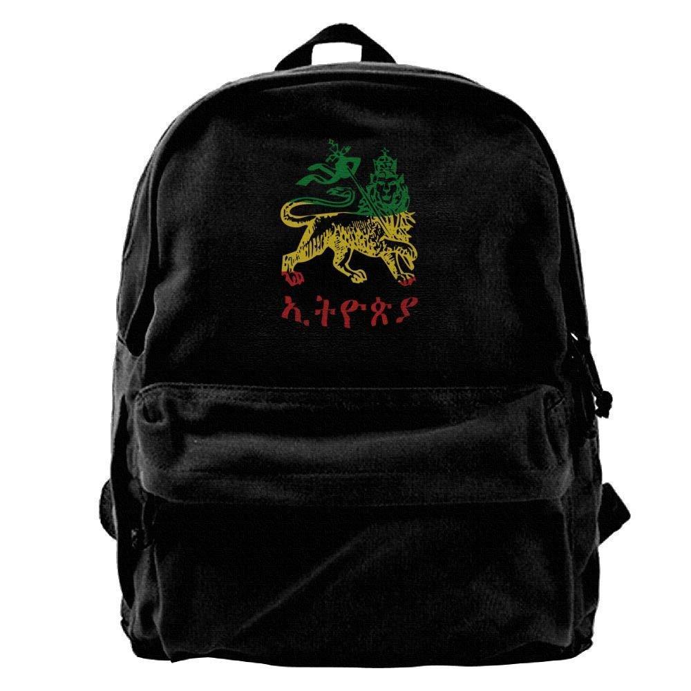 Male Canvas Blcak Backpack Shoulder Durable School Bag Lion Ethiopian Flag