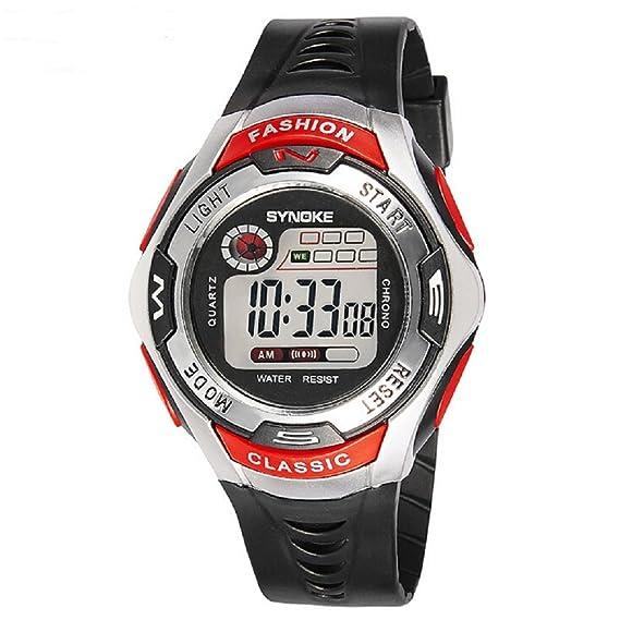 Niños niñas deporte reloj 50 m impermeable LED reloj Digital rojo: Amazon.es: Relojes