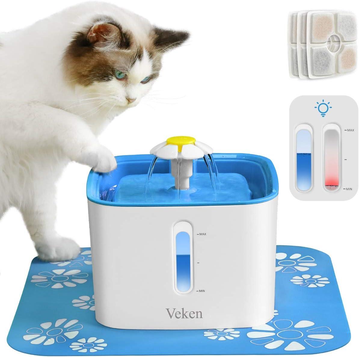 Veken 84oz/2.5L Pet Fountain & 4 Pack Replacement Filters & 2 Pack Replacement Pre-Filter Sponges Set (Blue)