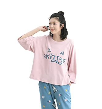 Autumn cute Cartoon cotton Pink pajamas women fashion casual Loose Long - Sleeved Trousers Two -