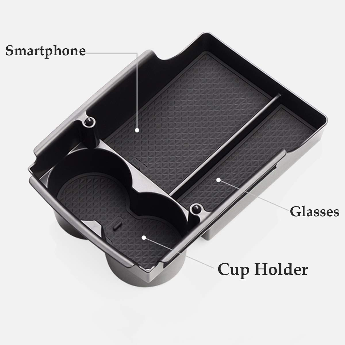 JDopption Black Center Container Cup Holder Console Storage Box for Tesla Model S//Model X 2016 2017 2018 2019