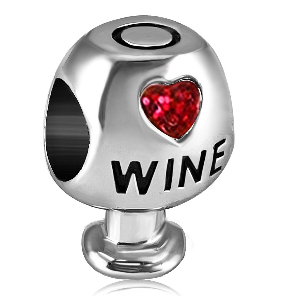 JMQJewelry Heart Love Wine Glass Charms Crystal Birthstone Beads For Charm Bracelets JMQA007-07
