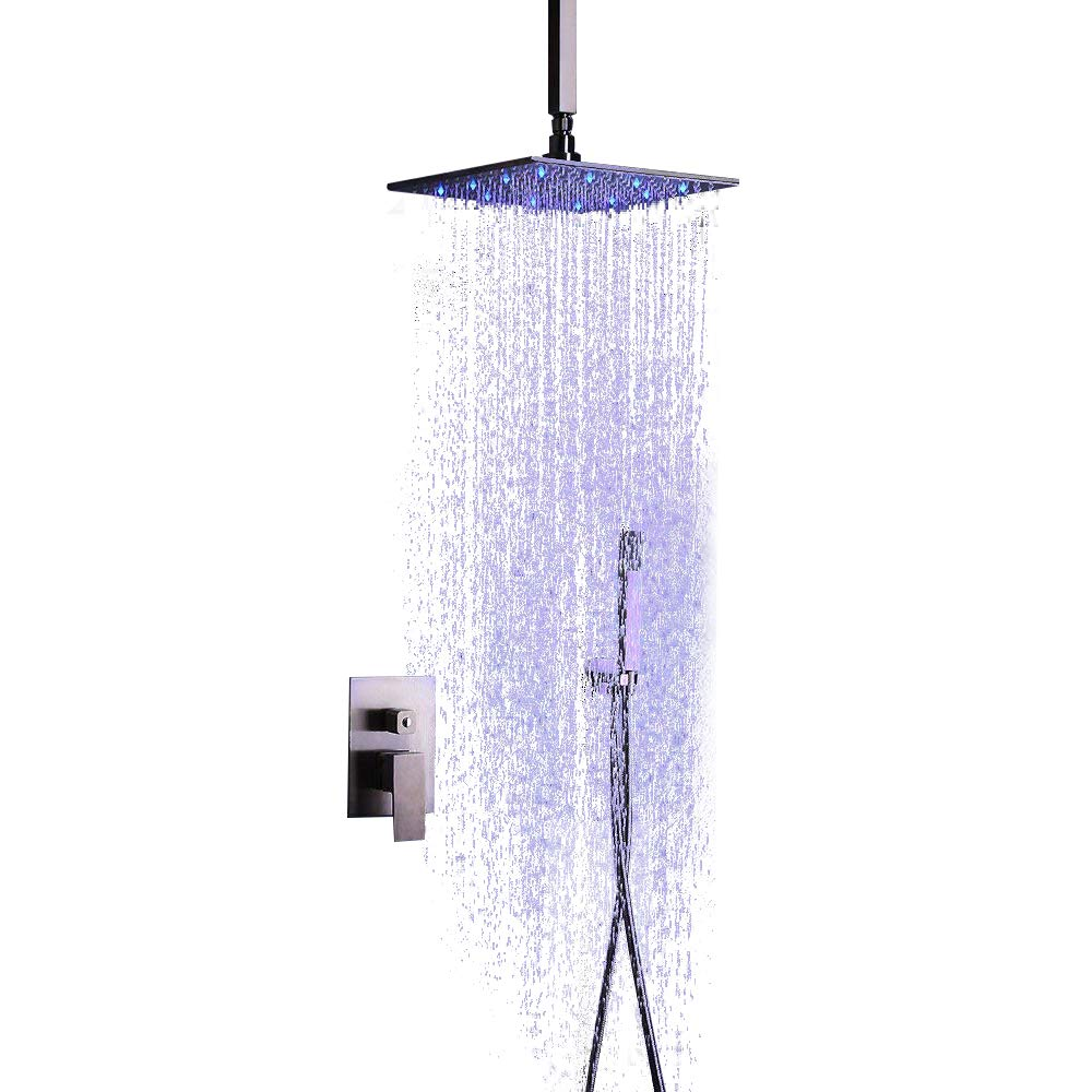 JiaYouJia Stainless Steel LED Rain Showerhead & Hand Shower System Brushed Nickel (with LED 16'' ceiling mount)